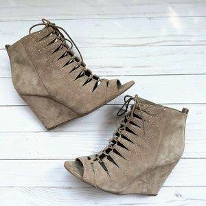 Jessica Simpson lace up suede booties